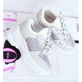 FRROCK Matilda Silver Children's Sports Shoes with glitter white grey 3