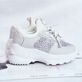 FRROCK Matilda Silver Children's Sports Shoes with glitter white grey 4