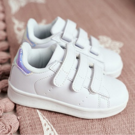FRROCK Youth Sports Footwear With Velcro White Silver Fifi 5