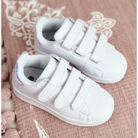 FRROCK Youth Sports Footwear With Velcro White Silver Fifi 1