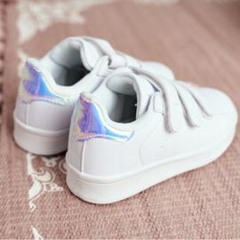 FRROCK Youth Sports Footwear With Velcro White Silver Fifi 2