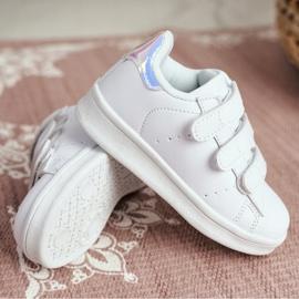 FRROCK Youth Sports Footwear With Velcro White Silver Fifi 3