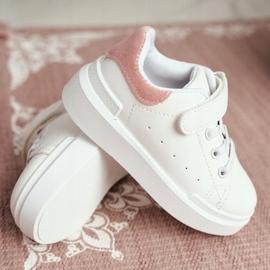 FRROCK Youth Sports Shoes Children Velcro White Pink Bilbo 5
