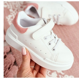 FRROCK Youth Sports Shoes Children Velcro White Pink Bilbo 6