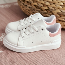 FRROCK Youth Sports Shoes Children Velcro White Pink Bilbo 8