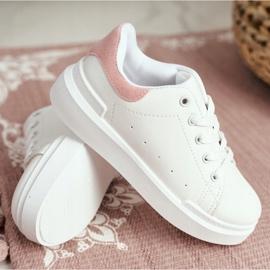FRROCK Youth Sports Shoes Children Velcro White Pink Bilbo 10