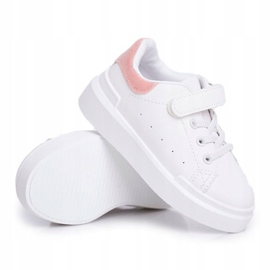 FRROCK Youth Sports Shoes Children Velcro White Pink Bilbo 1