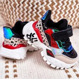 FRROCK Black Children's Sports Shoes Velcro Be Happy multicolored 3