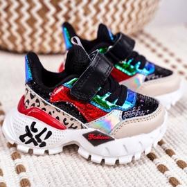 FRROCK Black Children's Sports Shoes Velcro Be Happy multicolored 2
