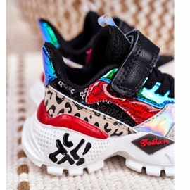 FRROCK Black Children's Sports Shoes Velcro Be Happy multicolored 4