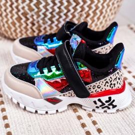 FRROCK Black Children's Sports Shoes Velcro Be Happy multicolored 5