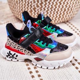 FRROCK Black Children's Sports Shoes Velcro Be Happy multicolored 6