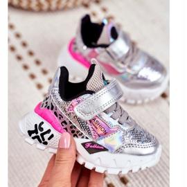 FRROCK Sports shoes for children Velcro Silver Be Happy grey 2