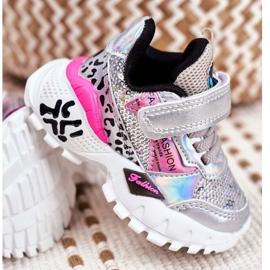 FRROCK Sports shoes for children Velcro Silver Be Happy grey 3