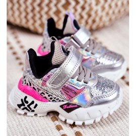 FRROCK Sports shoes for children Velcro Silver Be Happy grey 1