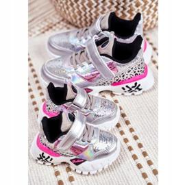 FRROCK Sports shoes for children Velcro Silver Be Happy grey 4