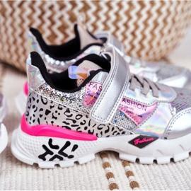 FRROCK Sports shoes for children Velcro Silver Be Happy grey 7