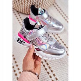 FRROCK Sports shoes for children Velcro Silver Be Happy grey 5