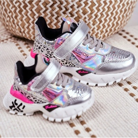 FRROCK Sports shoes for children Velcro Silver Be Happy grey 6