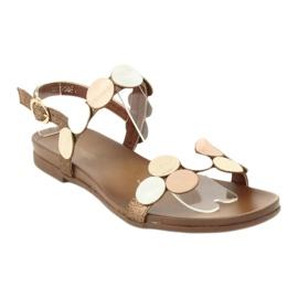 Golden sandals Daszyński MR1958-1 brown silver 1