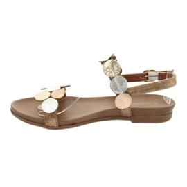 Golden sandals Daszyński MR1958-1 brown silver 2
