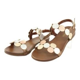 Golden sandals Daszyński MR1958-1 brown silver 3