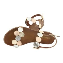 Golden sandals Daszyński MR1958-1 brown silver 4