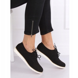 Loafers for women lace-up black T297 Black 1