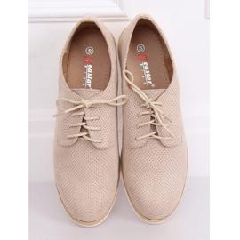 Loafers for women lace-up beige T297 Beige 1