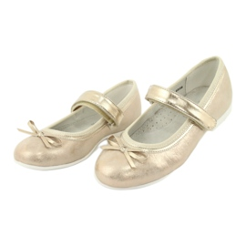 American Club GC02 golden ballerinas with a bow beige 3