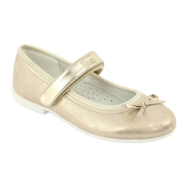 American Club GC02 golden ballerinas with a bow beige 1