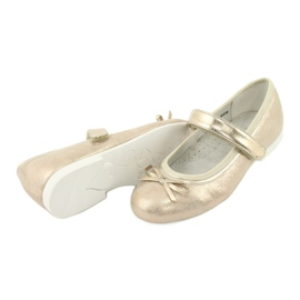 American Club GC02 golden ballerinas with a bow beige 4