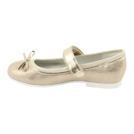 American Club GC02 golden ballerinas with a bow beige 2