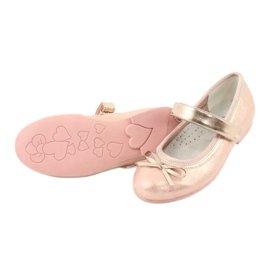 Golden Rose Ballerinas with a bow American Club GC03 / 20 pink yellow 4