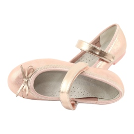 Golden Rose Ballerinas with a bow American Club GC03 / 20 pink yellow 5