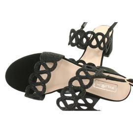 Black sandals with cubic zirconia Filippo DS1355 / 20 BK 4