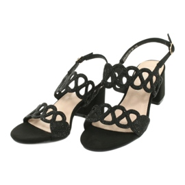 Black sandals with cubic zirconia Filippo DS1355 / 20 BK 2