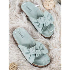 SHELOVET Suede Flip-flops With Bow green 1