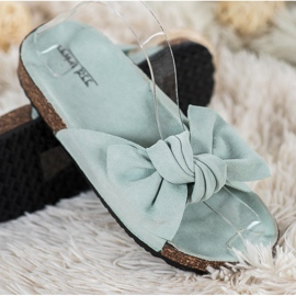 SHELOVET Suede Flip-flops With Bow green 3