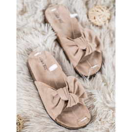 SHELOVET Suede Flip-flops With Bow brown 2