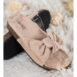 SHELOVET Suede Flip-flops With Bow brown 1