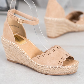 Evento Sandals with an openwork pattern brown 2