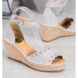 Evento Sandals with an openwork pattern grey 2