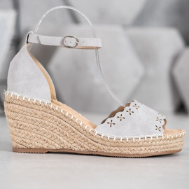 Evento Sandals with an openwork pattern grey 1