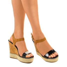 Black sandals on espadrilles VB76063 wedge heels 1