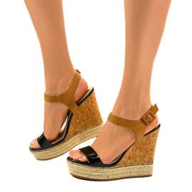 Black sandals on espadrilles VB76063 wedge heels 2