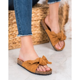 SHELOVET Suede Flip-flops With Bow brown 4