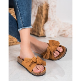 SHELOVET Suede Flip-flops With Bow brown 3