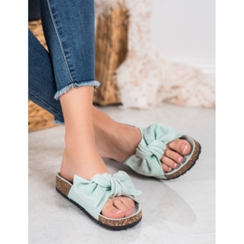 SHELOVET Suede Flip-flops With Bow green 4