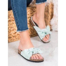 SHELOVET Suede Flip-flops With Bow green 5